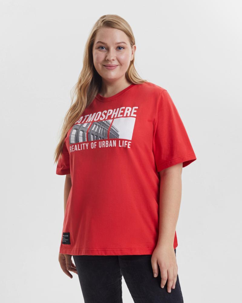 Футболка женская «Atmosphere» красная Plus size