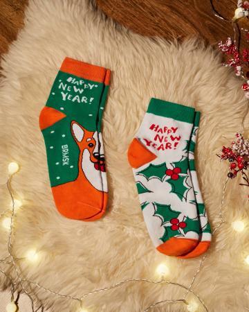 Носки «Новогодний Корги» 2 пары