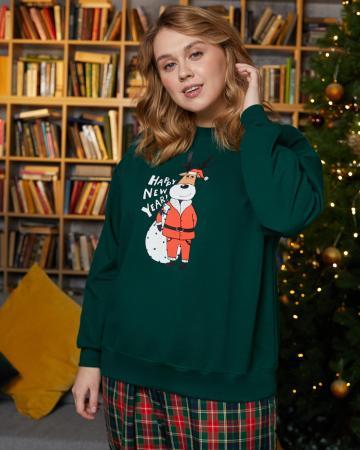 Свитшот женский «Олень Санта» Plus size