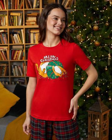 Футболка женская «Новогодний Кот»