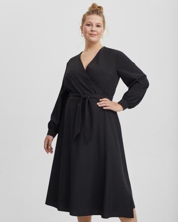 Платье женское с запахом черное Plus size
