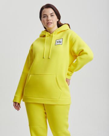 Худи женское «Мэджик. Plus size» с начесом желтое