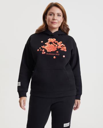 Худи женское «Красная икра» с начесом Plus size черное