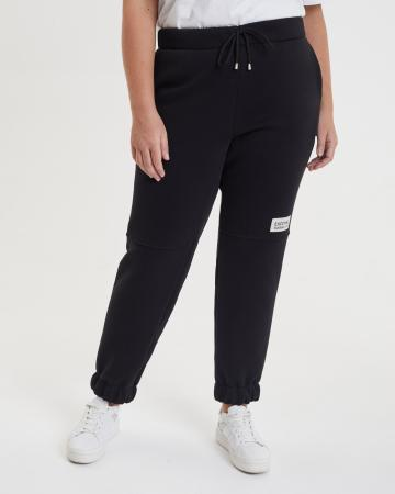 Брюки женские «Спортивные с шевроном» с начесом Plus size черные