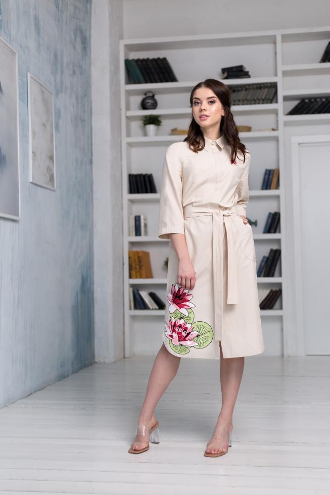 Платье-рубашка женское «Кувшинки»
