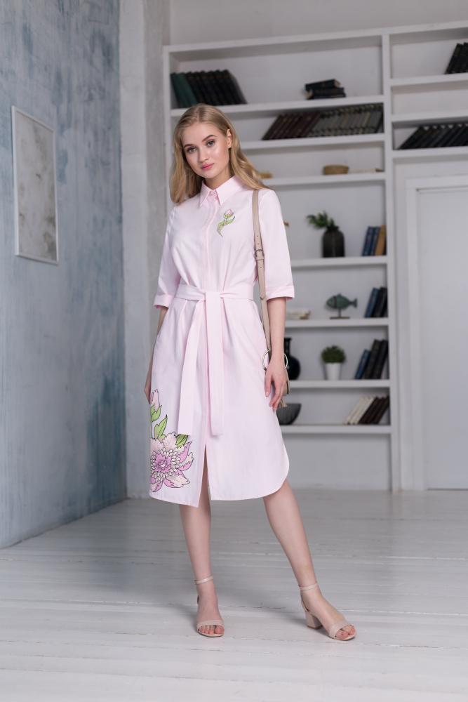 Платье-рубашка женское «Пионы»