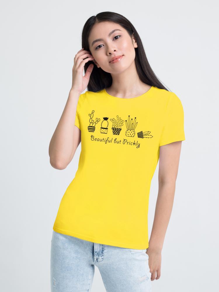 Футболка женская «Кактусы» лимонная