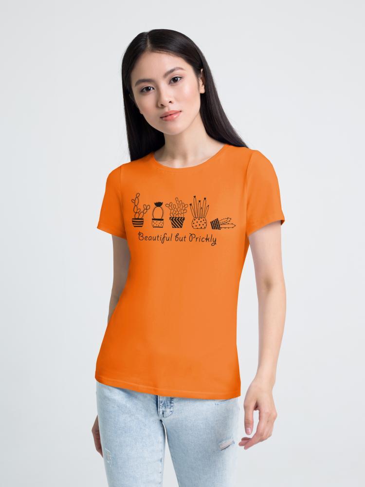Футболка женская «Кактусы» оранжевая