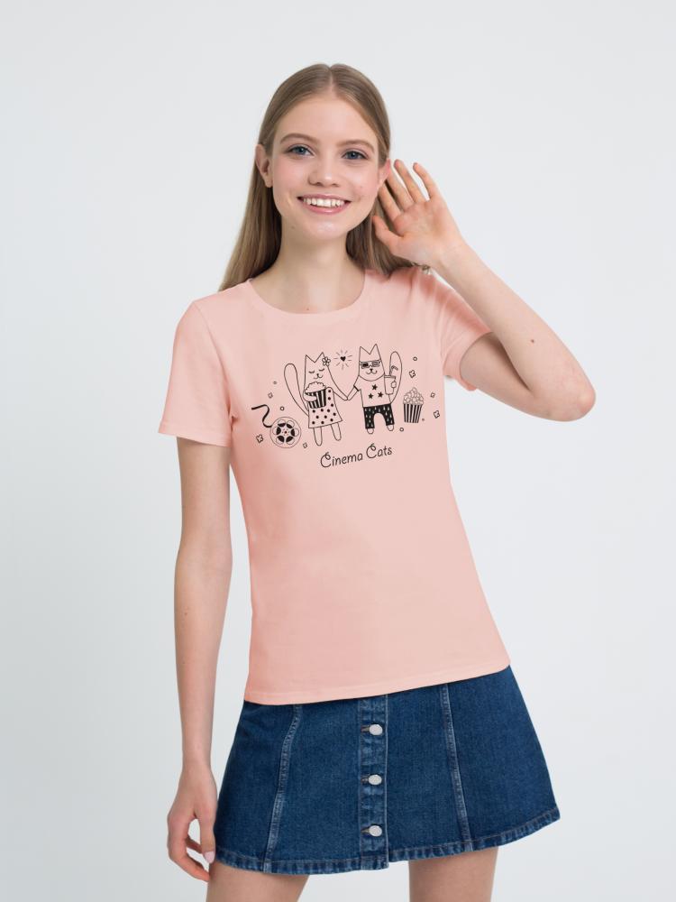Футболка женская «Кошки в киношке» светло-розовая
